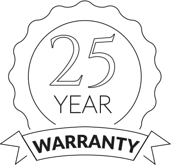 25 year warranty badge on transparent background
