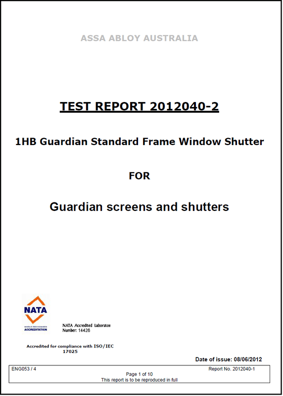 An image of Guardian Shutters Test Certificate original