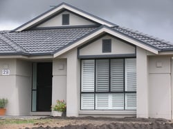 Bungalow installed with window shutters used protection of cyclonic winds