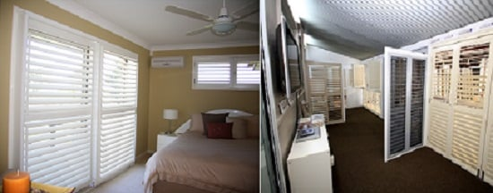 Two image grid explaining differentiating vinyl and plantation shutters of a room