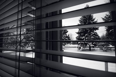 Black and white image of window with blinds
