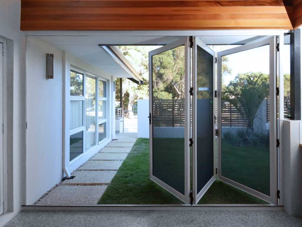 Image of an crimsafe bi-fold door screens