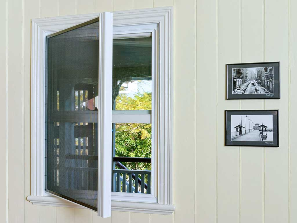 Window of a room installed with crimsafe hinged window