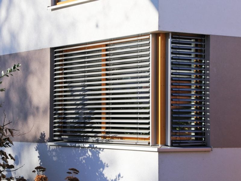 Window with blind, exterior shot