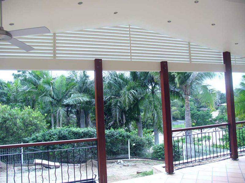 Inside view for rooftop covered with white privacy screens