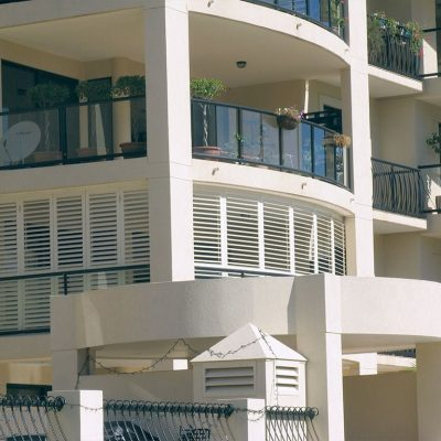 Exterior view of residential building homes with outdoor balcony