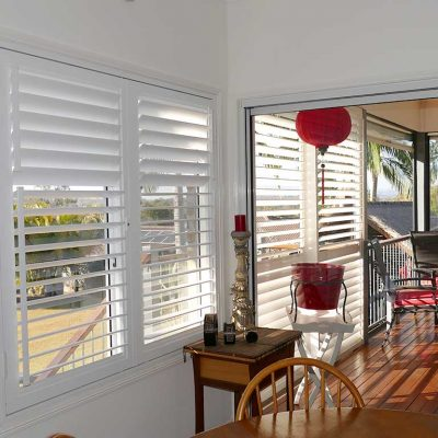 Inside view of room window with aluminium shutters