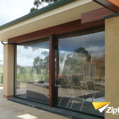 Exterior view of restaurant with Ziptrak blinds