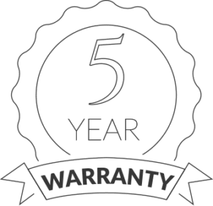 5 years warranty medal icon on transparent background
