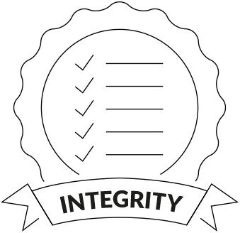Integrity badge icon on transparent background