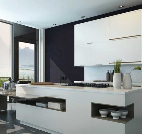 Modern Black and white interior kitchen with cabinets and counter-top cabinet